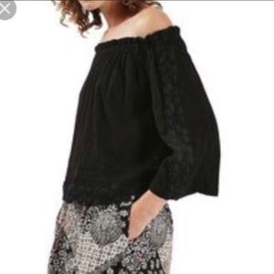 TopShop l Off Shoulder Crotchet Trim Bardot Top